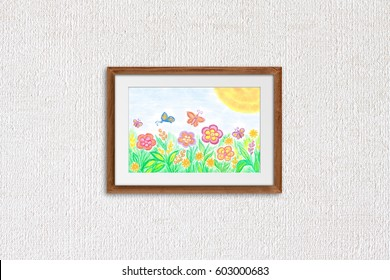 """Colorful pencils drawing, kid's art """"Spring fantasy, floral motif"""" in wooden frame on textured wallpaper. Interior decor mock up for children's room."""