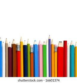 Colorful pencils and erasers in row isolated