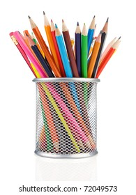 colorful pencils in holder isolated on white background