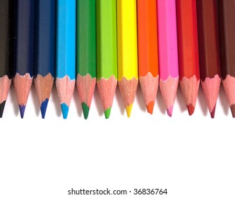 colorful pencils isolated on white background