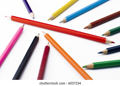 Colorful pencils isolated on white. Symbolic.