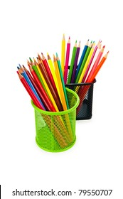 Colorful pencils isolated on the white