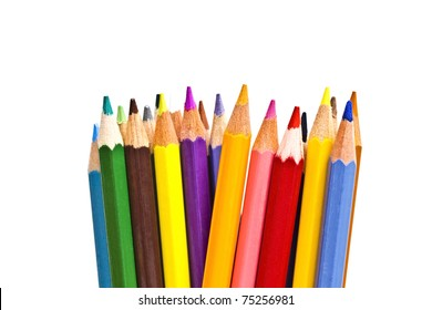 colorful pencils on focus isolated on white background