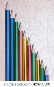 colorful pencils on wooden.
