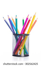 Colorful pencils in pencil stand