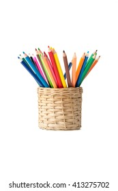 Colorful pencils pot on white background