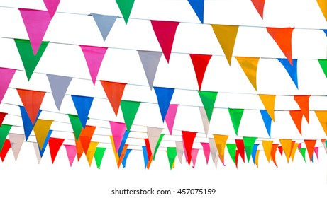 colorful pennant isolated, abstract of cerebration, multicolor of flags