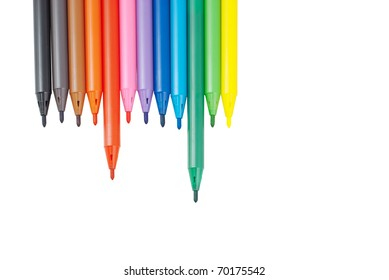 Colorful pens isolated