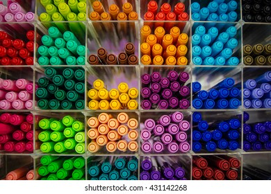 Colorful pens, Pens of many colors on the floor