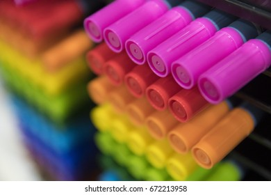 Colorful pens on stand of a art store