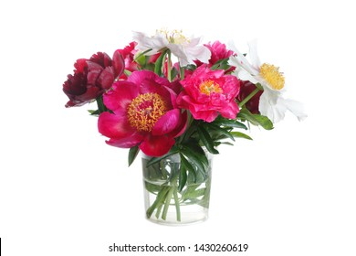 Colorful peonies bouquet isolated on white background.