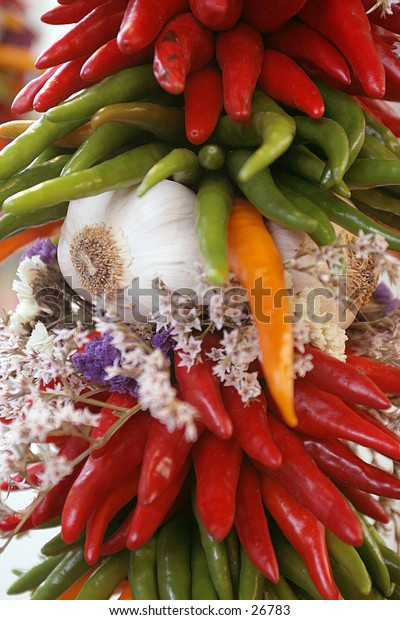 colorful pepper string with garlic
