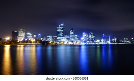 Colorful Perth city, Western Australia in the night