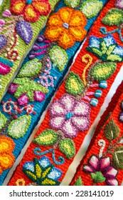 Colorful , peruvian rug textile.
