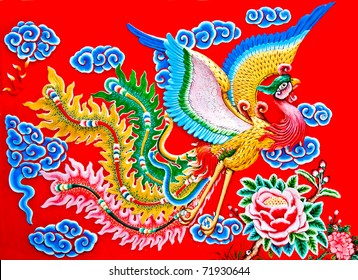 The Colorful of phoenix on wall of  joss house