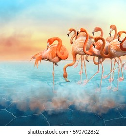 Colorful photo manipulation with red flamingo at right side in the desert  and sunset sky