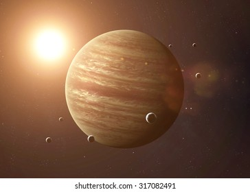Colorful picture represents Jupiter and its moons. Elements of this image furnished by NASA.