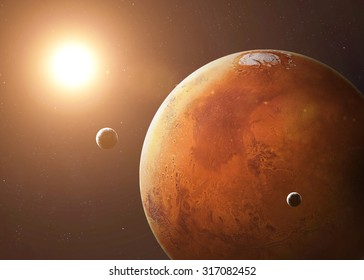 Colorful picture represents Mars and its moons. Elements of this image furnished by NASA.