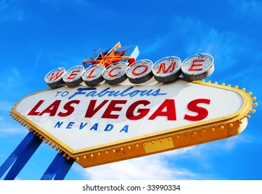 Colorful picture of the Welcome to Fabulous Las Vegas sign.