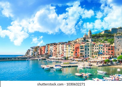 Colorful picturesque harbour of Porto Venere, Italian Riviera, Liguria, Italy