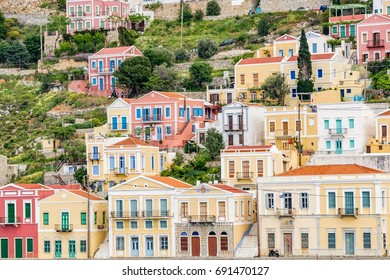 Colorful, picturesque houses at Symi island, close to Rhodes island, Greece