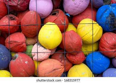 colorful pile of coconuts.