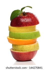 Colorful pile of fresh fruits over white