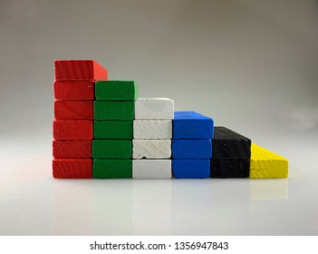 Colorful pile of wooden blocks