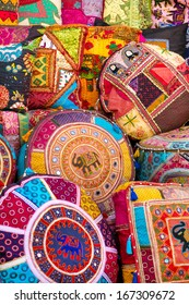 Colorful pillows at the market in India