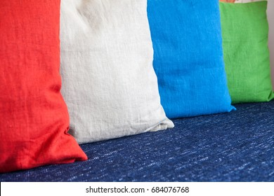 colorful pillows on sofa