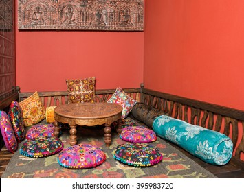 Colorful pillows and table at the market in India