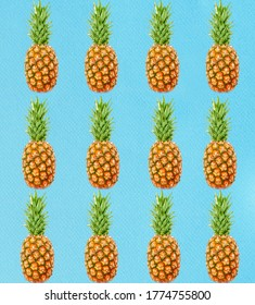 Colorful Pineapple Background - Seamless Pattern
