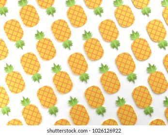 Colorful pineapple on white background