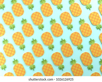 Colorful pineapples on blue  background