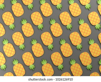 Colorful pineapples on gray background