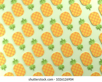 Colorful pineapples on green background