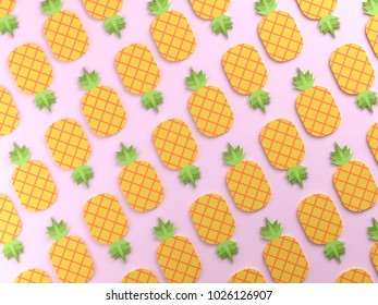 Colorful pineapples on pink background