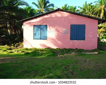 colorful pink cabin for rent third world Big Corn Island Nicaragua  Central America