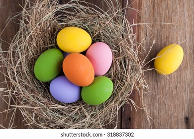 colorful pink purple and yellow eggs with hay vintage white and blue wood background