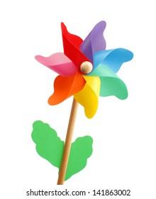 Colorful pinwheel isolated on white background