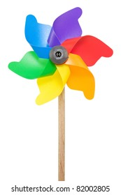 Colorful pinwheel isolated on a white background.