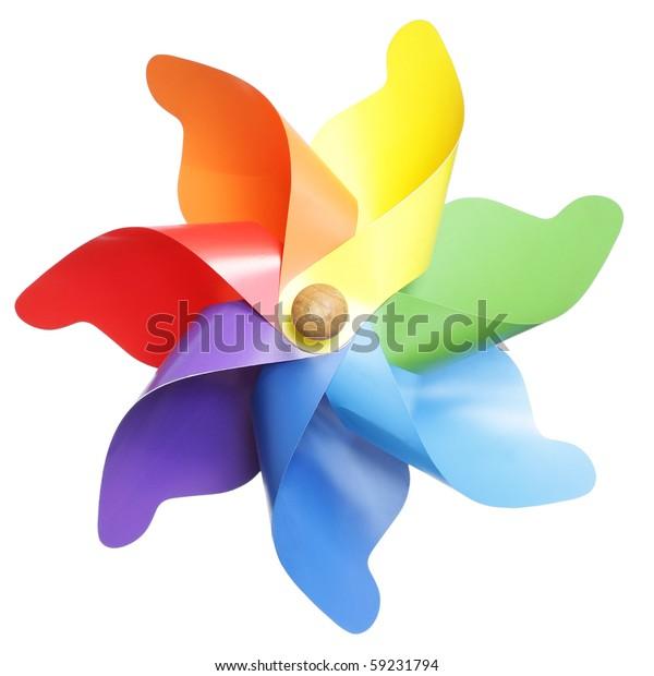 Colorful pinwheel isolated on white