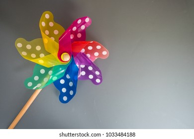 Colorful Pinwheel on gray background