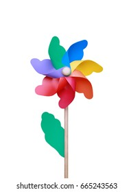 Colorful pinwheel over white background