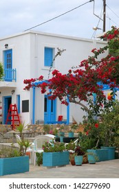 colorful place on the island of Tilos, Greece