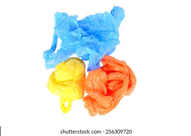 Colorful plastic bags isolated on white background