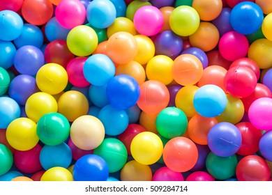 Colorful plastic balls in children park