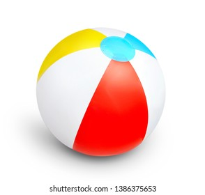 Colorful plastic beach ball isolated with shadow.Summer items.Vocation symbol.