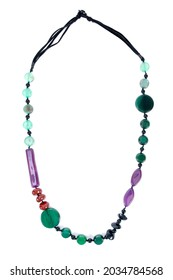 Colorful plastic bead necklace isolated on white background. Multicolored stone bead necklace decoration isolated