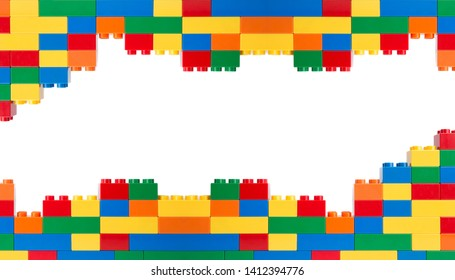 colorful plastic block on white background